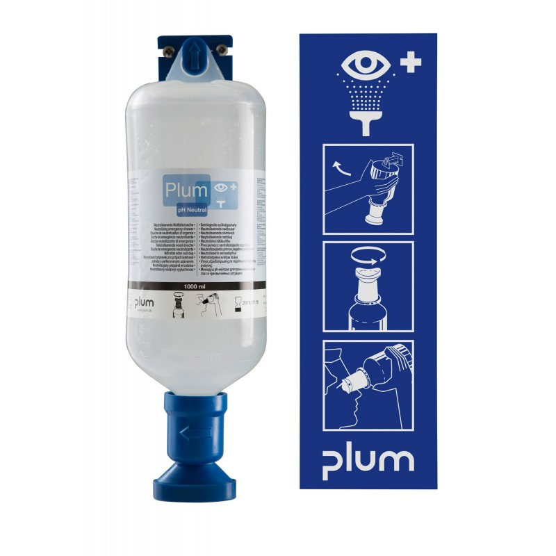 PLUM EYE WASH pH Neutral Emergancy Shower Station 1000ml