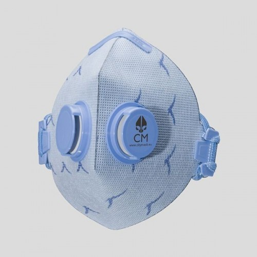 Półmaska antysmogowa z węglem aktywnym niebieska/mewa