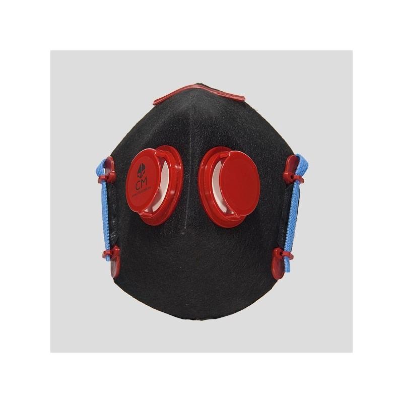 Półmaska antysmogowa z węglem aktywnym czarny/czerwony 2