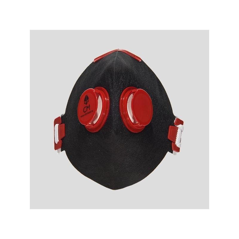 Półmaska antysmogowa z węglem aktywnym czarny/czerwony