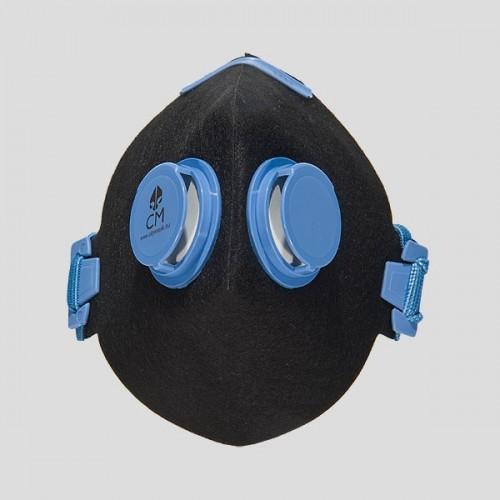 Półmaska antysmogowa z węglem aktywnym czarny/niebieski