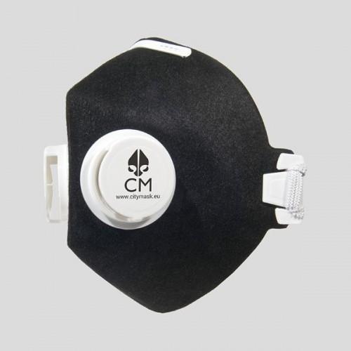 Półmaska antysmogowa z węglem aktywnym czarny/biały