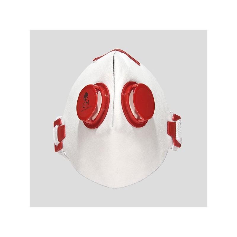 Półmaska antysmogowa z węglem aktywnym biały/czerwony