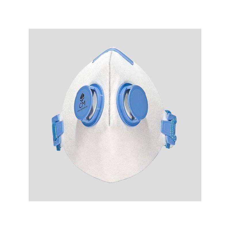 Półmaska antysmogowa z węglem aktywnym biały/niebieski