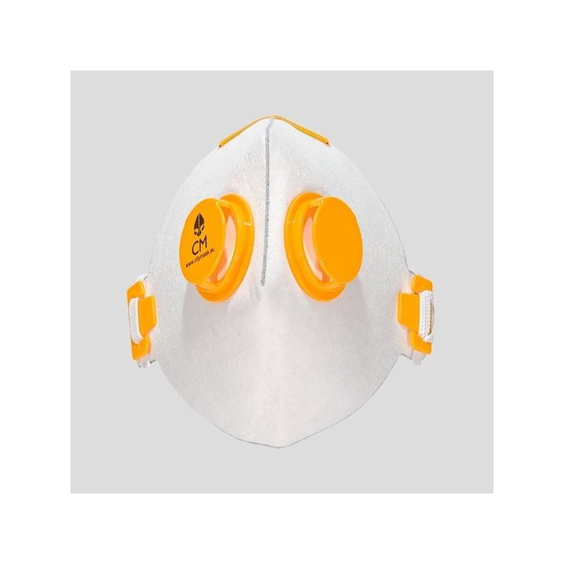 Półmaska antysmogowa z węglem aktywnym biały/żółty
