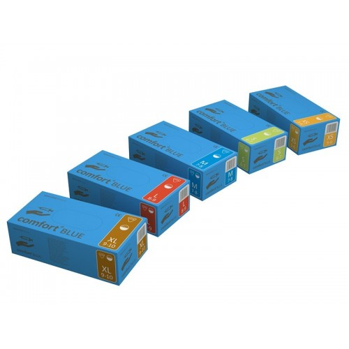 Rękawice lateksowe Comfort Blue pudrowane