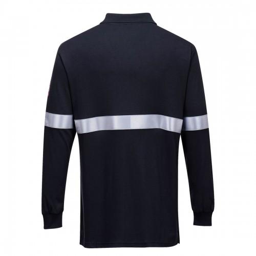 Koszulka polo trudnopalna z odblaskami i długim rękawem FR03