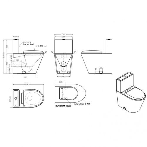 KOMPAKT WC stojący z deską PVC stal szlachetna matowa