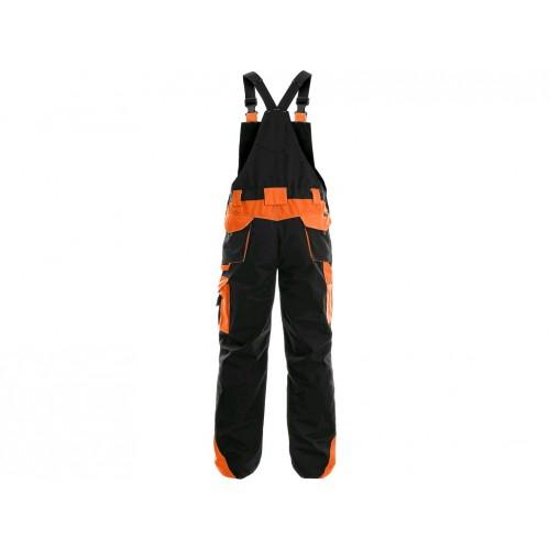 Spodnie ogrodniczki CXS Sirius BRIGHTON czarno-pomarańczowe