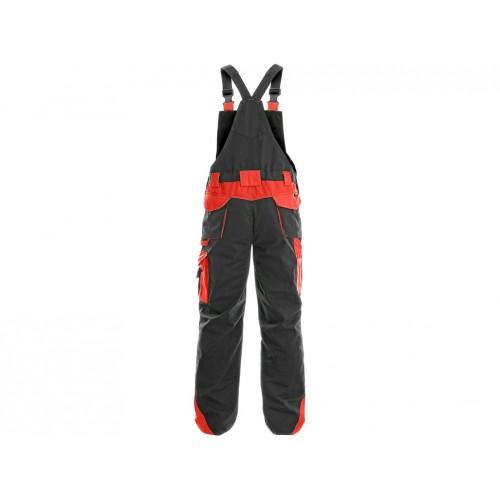 Spodnie ogrodniczki CXS Sirius BRIGHTON szaro-czerwone