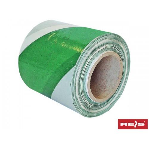 Taśma ostrzegawcza biało-zielona 100m