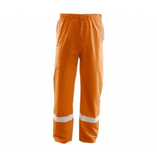 Spodnie do pasa przeciwdeszczowe PU pomarańczowe odblask