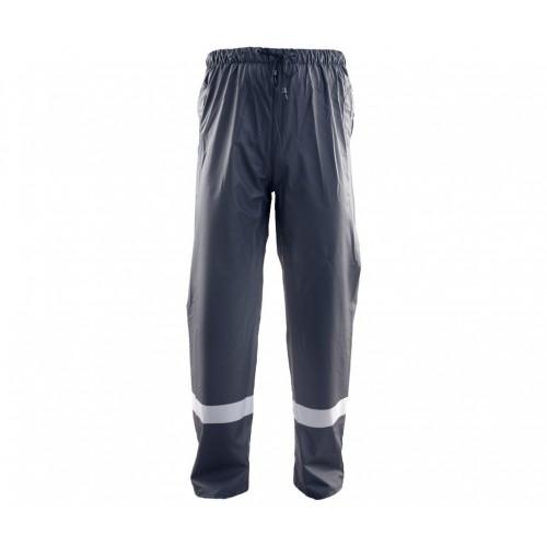 Spodnie do pasa przeciwdeszczowe PU granatowe odblask