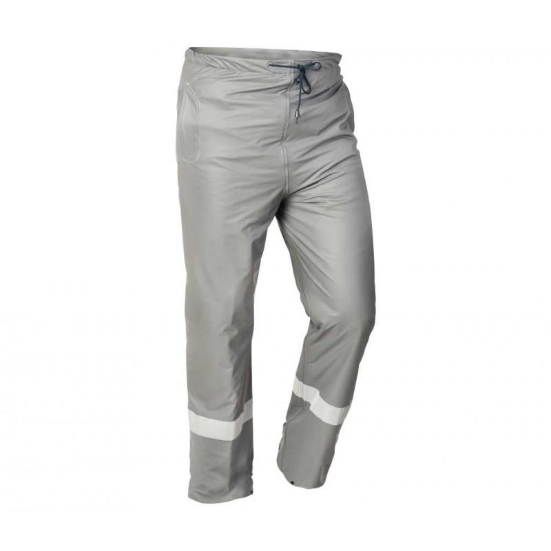 Spodnie do pasa przeciwdeszczowe PU szare odblask