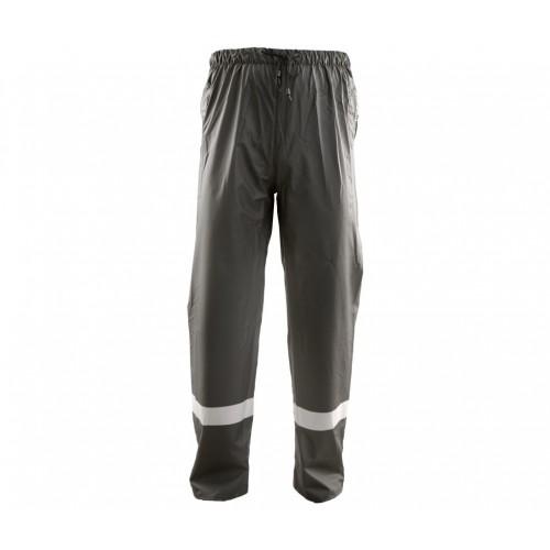 Spodnie do pasa przeciwdeszczowe PU zielone odblask